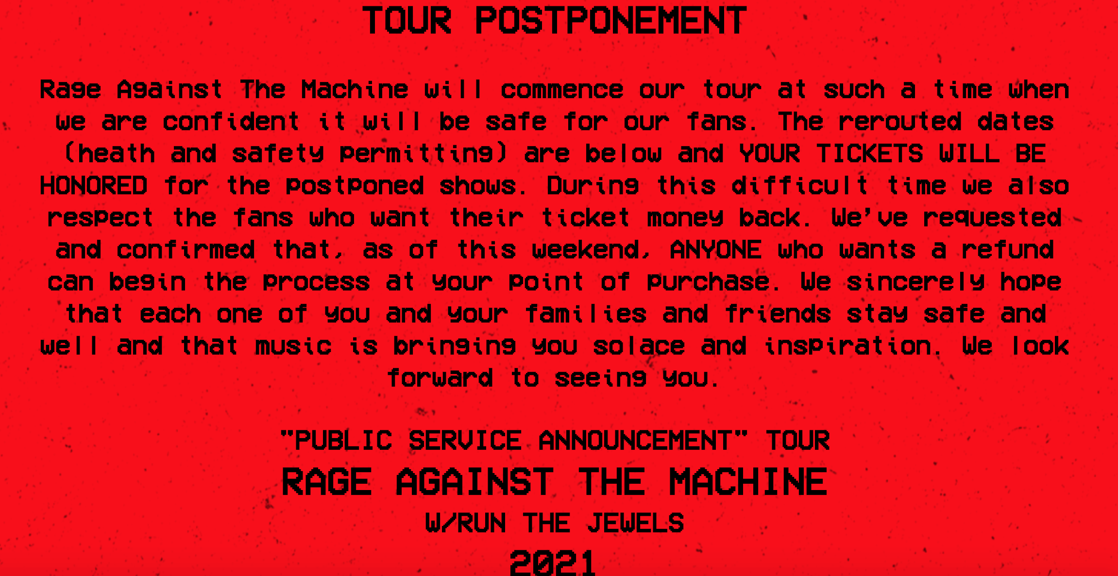 Rage Against The Machine Tour 2021